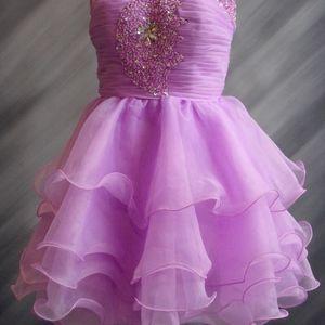 Short Lavender strapless beaded dress